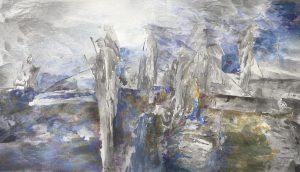 """""""Fisher III"""", Mischtechnik auf Sperrholz, 2006, 80 x 140cm"""