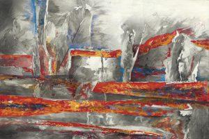 """""""Fischer IV"""", Mischtechnik auf Sperrholz, 2006, 80 x 140 cm"""
