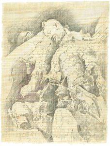 """""""Gebrochener Krieger"""", Bleistift, Buntstift auf Papyrus, 2004, 84 x 64 cm"""
