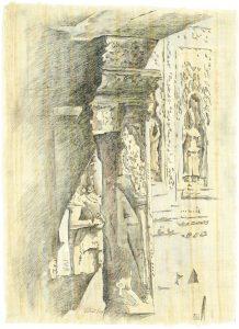 """""""In den Ruinen IX"""", Bleistift, Buntstift auf Papyrus, 2004, 74 x 54 cm"""