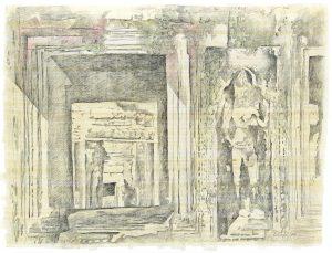 """""""In den Ruinen V"""", Bleistift, Buntstift auf Papyrus, 2004, 64 x 84 cm"""