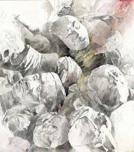 """""""Köpfe"""", Mischtechnik auf Sperrholz, 2004, 130 x 115 cm"""