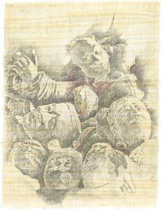 """""""Köpfe"""", Bleistift, Buntstift auf Papyrus, 2004, 84 x 64 cm"""