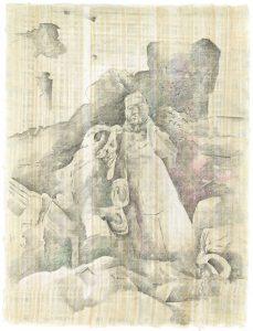 """""""Versunken I"""",  Bleistift, Buntstift auf Papyrus, 2004, 84 x 64 cm"""