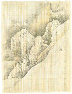 """Versunken II - Wolkenarmee"",  Bleistift, Buntstift auf Papyrus, 2004, 84 x 64 cm"