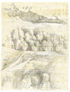 """""""Wolkenarmee"""",  Bleistift, Buntstift auf Papyrus, 2004, 84 x 64 cm"""