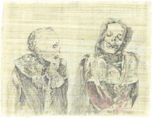 """""""Die Alten II"""", Zeichnung auf Papyrus, 2005, 84 x 64cm"""