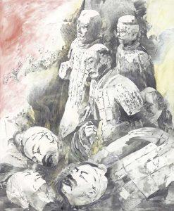 """""""Geschlagene Krieger"""", Mischtechnik auf Sperrholz, 2005, 140 x 115 cm"""