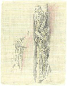 """""""Mumie"""", Zeichnung auf Papyrus, 2005, 84 x 64cm"""