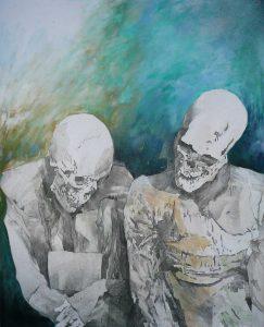 """""""Gespräch"""", Mischtechnik auf Sperrholz, 2005, 100 x 80 cm"""