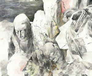 """Verschüttete Krieger"", Mischtechnik auf Sperrholz, 2005, 140 x 115 cm"