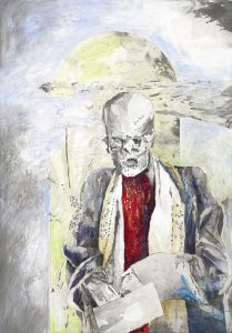 """""""Alter Mönch"""", Mischtechnik auf Hartfaser, 2006, 100 x 70 cm"""