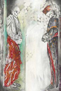 """""""Gespräch II"""", Mischtechnik auf Hartfaser, 2006, 120 x 80 cm"""