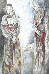 """""""Gespräch"""", Mischtechnik auf Hartfaser, 2006, 120 x 80 cm"""