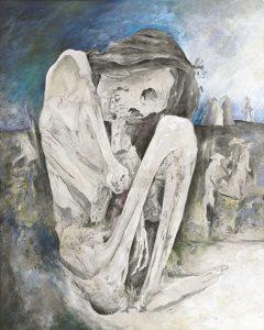 """""""Kauernde I"""", Mischtechnik auf Sperrholz, 2007"""