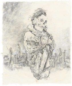 """""""Peruanischer Träumer II"""", Bleistift, Buntstift auf Papier, 2007, 98 x 80 cm"""
