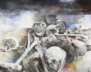 """Field of Skulls II"", Mischtechnik auf Leinwand, 2008, 80 x 100 cm"