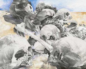 """Field of Skulls III"", Mischtechnik auf Leinwand, 2008, 80 x 100 cm"