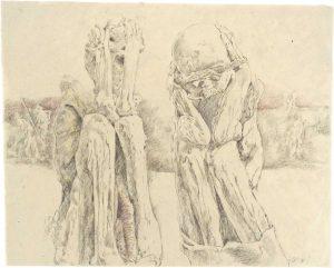 """""""Peruanisches Paar II"""", Buntstift, Bleistift auf Papier, 2008, 80 x 100 cm"""