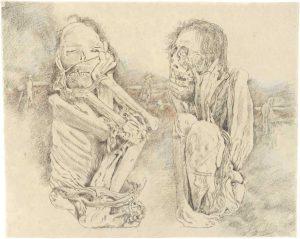 """""""Peruanisches Paar I"""", Buntstift, Bleistift auf Papier, 2008, 80 x 100 cm"""