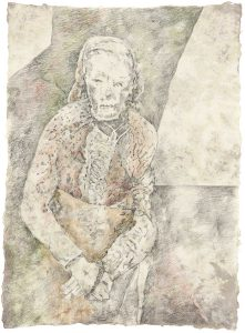 """Alte (aus dem Vac-Zyklus)"", Bleistift, Buntstift auf Himalayapapier, 2008, 95 x 70 cm"