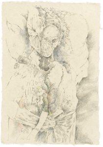"""""""Frau mit Haube (aus dem Vac-Zyklus)"""", Bleistift, Buntstift auf Himalayapapier, 2008, 95 x 70 cm"""