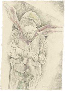 """""""Frau mit rosa Tuch (aus dem Vac-Zyklus)"""", Bleistift, Buntstift auf Himalayapapier, 2008, 95 x 70 cm"""