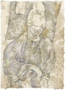 """""""Mann mit Mütze (aus dem Vac-Zyklus)"""", Bleistift, Buntstift auf Himalayapapier, 2008, 95 x 70 cm"""