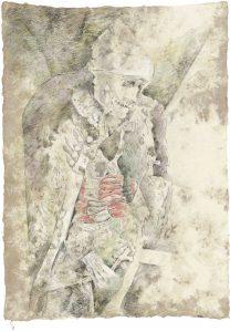 """Offizier (aus dem Vac-Zyklus)"", Bleistift, Buntstift auf Himalayapapier, 2008, 95 x 70 cm"