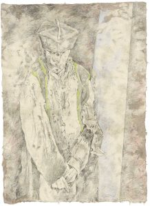 """""""Priester (aus dem Vac-Zyklus)"""", Bleistift, Buntstift auf Himalayapapier, 2008, 95 x 70 cm"""