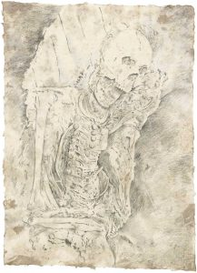 """Soldat, Bleistift (aus dem Vac-Zyklus)"", Buntstift auf Himalayapapier, 2008, 95 x 70 cm"