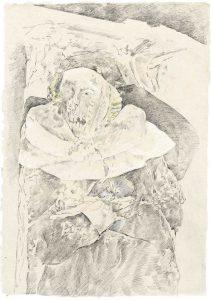 """""""Nonne II (aus dem Vac-Zyklus)"""", Bleistift, Buntstift auf Himalayapapier, 2008, 95 x 70 cm"""