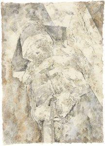 """Nonne (aus dem Vac-Zyklus)"", Bleistift, Buntstift auf Himalayapapier, 2008, 95 x 70 cm"