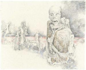 """""""Peruanischer Träumer II"""", Buntstift, Bleistift auf Papier, 2009, 80 x 100 cm"""