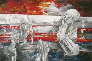 """""""Peruanischer Träumer II"""", Mischtechnik auf Sperrholz, 2009, 80 x 140 cm"""