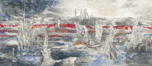"""""""Fischer"""", Mischtechnik auf Holz, 2010, 70 x 160 cm"""