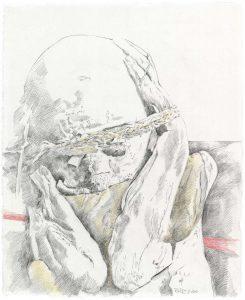 """""""Kleiner Peruanischer Träumer V"""", Bleistift, Buntstift auf Papier, 2010"""