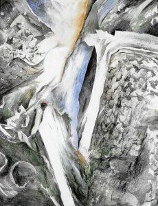 """""""Aus dem Thailand-Zyklus, Bild VII"""", Mischtechnik auf Hartfaser, 2000, 90 x 70 cm"""