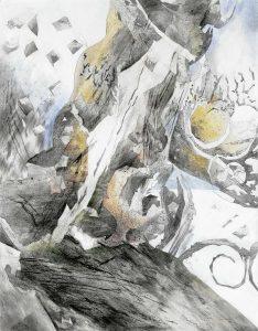 """""""Aus dem Thailand-Zyklus, Bild X"""", Mischtechnik auf Hartfaser, 2000, 90 x 70 cm"""