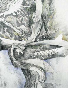 """""""Aus dem Thailand-Zyklus"""", Mischtechnik auf Hartfaser, 2000, 90 x 70 cm"""