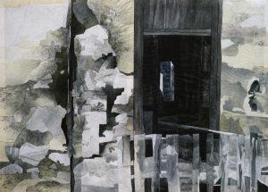 """""""Fassade"""", Mischtechnik auf Vlies, 1991, 120 x 160 cm"""