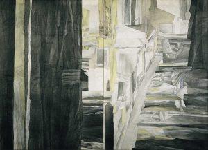 """""""Stadt"""", Mischtechnik auf Vlies,1991,120 x 160 cm"""