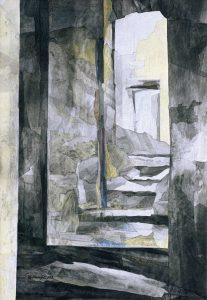 """""""Einblick"""", Mischtechnik auf Vlies,1992, 120 x 90 cm"""