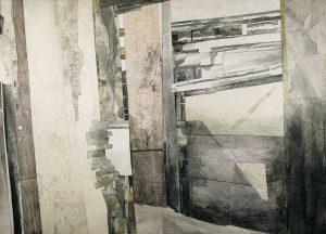 """""""Pfeiler"""", Mischtechnik auf Hartfaser,1992,120 x 160 cm"""