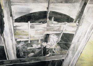 """""""Papiermühle - Das Tor"""", Mischtechnik auf Vlies,,1992, 120 x 180 cm"""