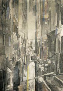 """""""Venedig"""", Mischtechnik auf Vlies,1992,120 x 90 cm"""