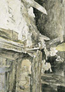 """""""Nachtlicht I"""", Mischtechnik auf Hartfaser, 1994, 109 x 78 cm"""