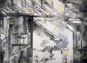 """""""Licht und Schatten"""", Mischtechnik auf Vlies, 1994, 120 x 180 cm"""