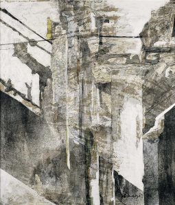 """""""Schatten"""", Mischtechnik auf Hartfaser, 1994, 75 x 65 cm"""
