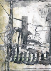 """""""Wegzeichen"""", Mischtechnik auf Hartfaser,1995, 109 x 78 cm"""
